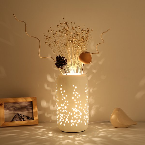 2019 Chinese Ceramic Table Lamp Bedroom Dry Flower Table Light New  Classical Coffee Bar Table Lamp Living Room Restaurant Modern Led Desk  Light From ...