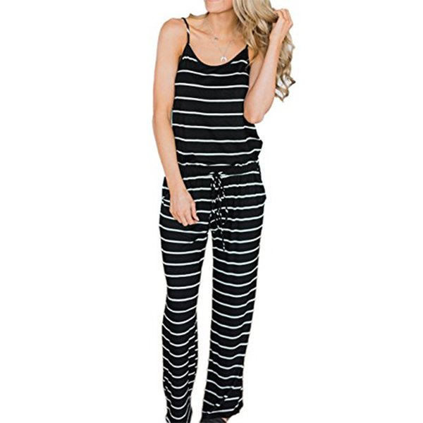 130d75cb938 Casual White Black Striped Jumpsuits Sexy Spaghetti Strap Loose Playsuits  Summer Women Jumpsuit Wide Leg Pants Overall XXL GV407