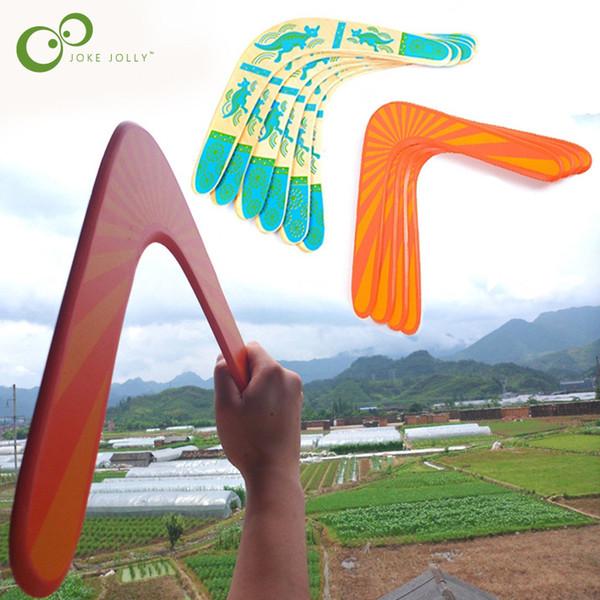 1 pezzo Boomerang di legno di alta qualità classica V forma Frisbee Flying Saucer Giocattoli 40 metri Giocattoli per bambini popolari all'aperto GYH