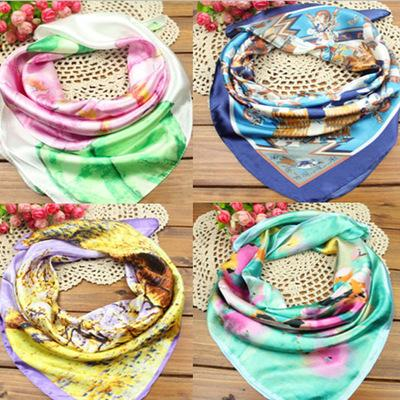 Hot Brand New Fashion Printed 60 *60cm Spring /Autumn Chinese Silk Scarves Cheap Wraps Business Scarf Women Small Square Satin Scarf