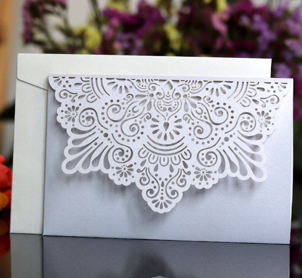White Blue Horizontal Laser Cut Wedding Invitations Cards With Rsvp Cards Pearl Paper Cardstock Free Printing Online Wedding Invitation Maker Picture