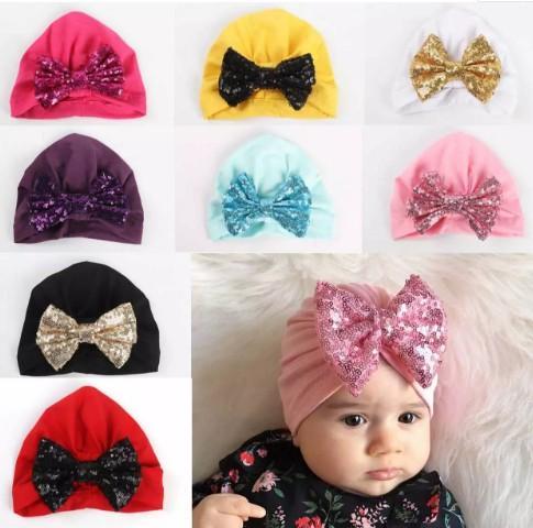 Bébé Fille Bandanas Turban Head Wrap Fille Chapeau Indien Bonnet Shinning Bowknot Bandeau Beaucoup De Styles