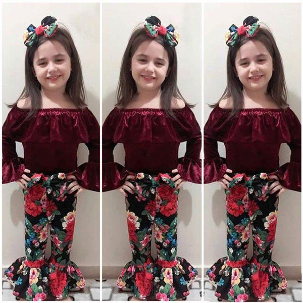 Baby outfits INS girls Gold velvet Off Shoulder top+Floral Flared pants+headband 3pcs/set Autumn suit Boutique kids Clothing Sets