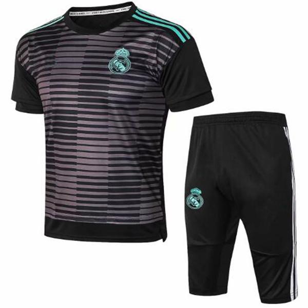 2018 2019 Real Madrid Manches courtes Combinaison d'entraînement 3/4 Pantalon kit 18 19 Chandail Uniformes Maillot de foot Survetement Maillots de football