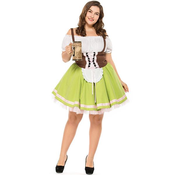 de528b170b Plus Size M-3XL Women s Traditional Bavarian Beer Girl Drindl Dress German  Oktoberfest Costume Carnival