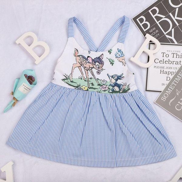 Deer Mermaid Stripe Suspender Dresses for Baby Girls 2018 Spring Kids Boutique Clothing Euro America INS Toddlers Girls Back Bandage Dresses