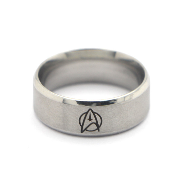 P1801 Dongmanli 2018 New Hot Sales Black Silver Beveled The New Star Trek New Men's Tungsten Wedding Rings Punk Style Rings