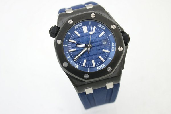 Top luxury fashion men'ssports military watch oak 15706AU.OO.A002CA.01 blue rubber three-pin automatic men's stainless steel men's watch