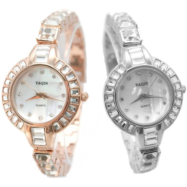 ALEXIS 2PCS./ Sets Generous beauty New Round Rose Gold Tone & Silver Watchcase White Dial Ladies Women Bracelet Watch