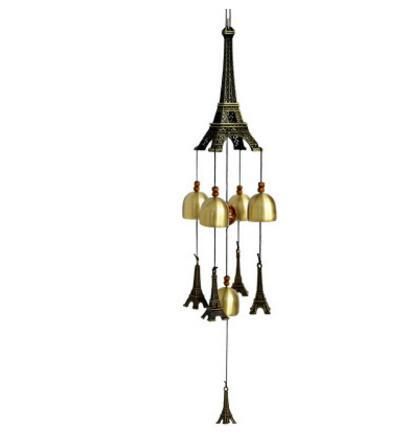 Fashion Eiffel Tower Wind Chimes With 5 Copper Bells Garden Outdoor Home Room Wall Hanging Decoration Crafts Kids Birthday Gifts