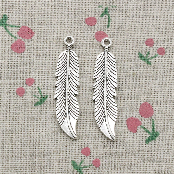 40pcs Charms feathers tree leaf 45*11mm Antique Silver Pendant Zinc Alloy Jewelry DIY Hand Made Bracelet Necklace Fitting