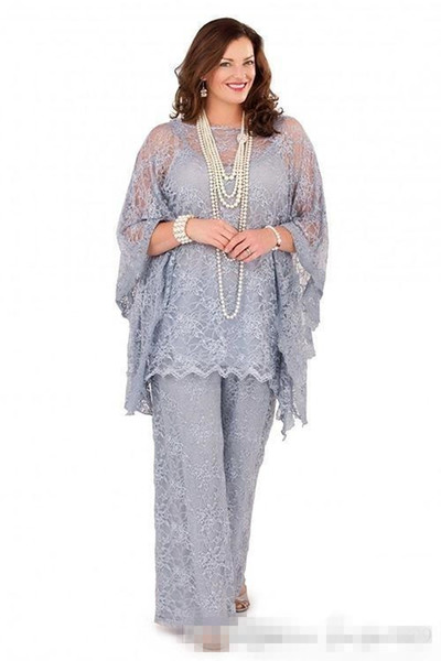 Plus Size Mother of the Bride Pant Suits 2019 Full Lace Long Sleeves Three Pieces Silver Gray Formal Women Groom Lace Mother Dresses