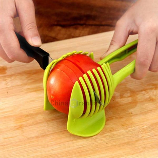 Handheld Fruit Slicer Tomato Cutter Lemon Potato Food Egg Peel Onion Holder