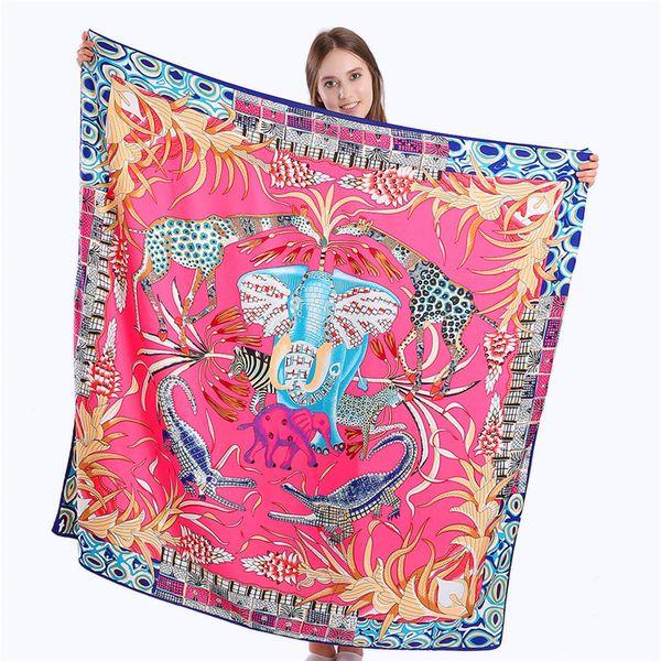 Nova Sarja Lenço De Seda Mulheres reino Animal Impressão Quadrado Lenços de Moda Envoltório Feminino Foulard Grande Xaile Hijab Lenço 130 * 130 CM