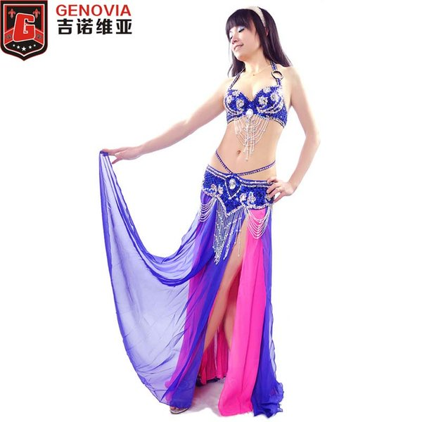 2018 Women Stage Performance Belly Dance Costume Beaded Outfit Set Belly Dance Bra Top & Waist Chain Belt & Skirt Eastern Style