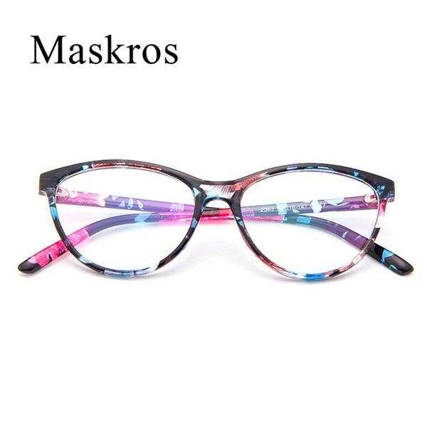 Maskros Cat Eye Glasses Women Vintage Flower Eyeglasses Frame for Female Large Face Decoration Optical Lens Cheap Plastic 2016