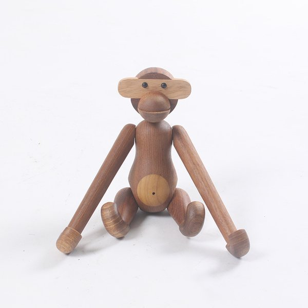 Natural Wooden Hanging Monkey Doll Figurines Teak Wood Creative Animal Statues Models Home Decoration Arts and Crafts
