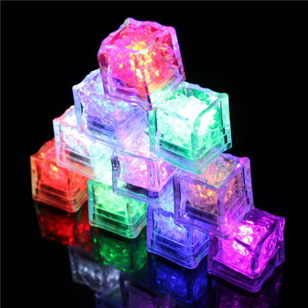 Multi Color LED Ice Cube Romantic Colors Light Up Ice Cube Fash Slow Flash Ice cube Novelty Safe Party Wedding Date Light