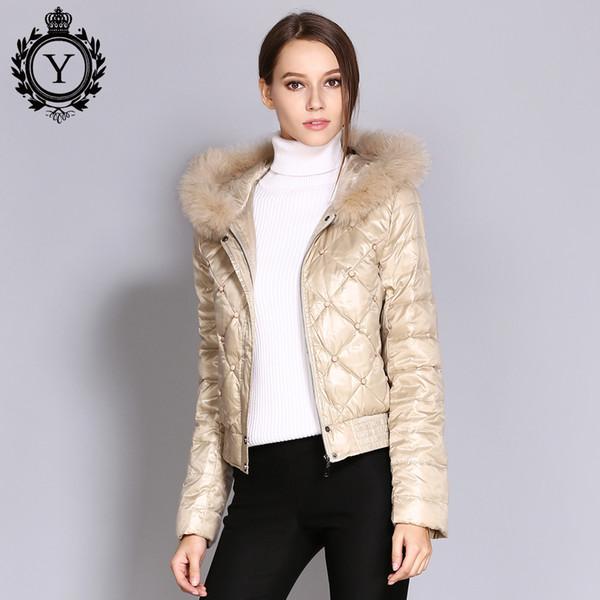 COUTUDI Ukraine Early Winter Down Coat Women Real Fur Parka Warm Khaki Short Female Outwear Jacket Hooded Coats Women's Clothing S1031