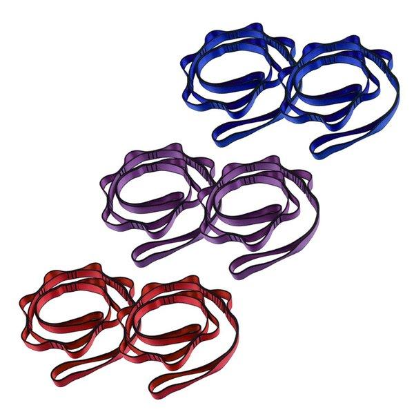 Nuevo 2Pcs Yoga Stretch Strap con múltiples agarres Loops Deporte Terapia física Band Flexibility Cinturones Gym Cintura Pierna Workout Belt