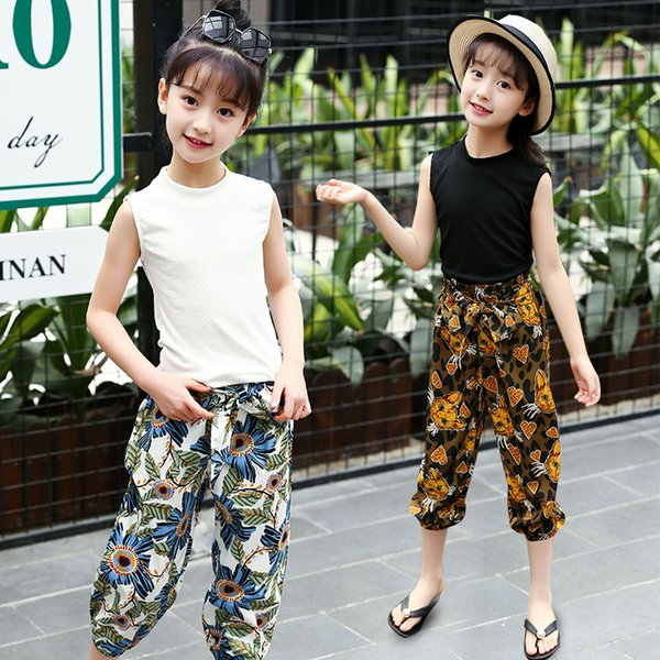 Retail 2Pcs Beautiful Bohemia Style Cotton Suit Sets For Girls Summer Black&White Sleeveless T-shirt+Bow Tie Floral Beach Pant