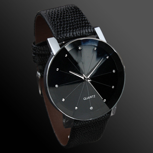 Fashion Watch Quartz Men Women Wrist Watches PU Band Black Dial Lover Anniversary for Couple Best Gift
