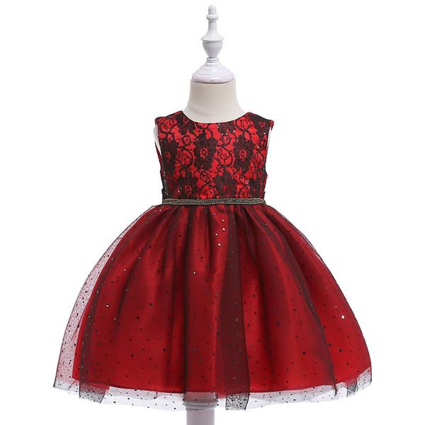 Kırmızı Siyah Ucuz Çiçek Kız Elbise 2019 Stokta Prenses Bir Çizgi Cap Kollu Çocuklar Toddler İlk Communion Elbise Kanat ile