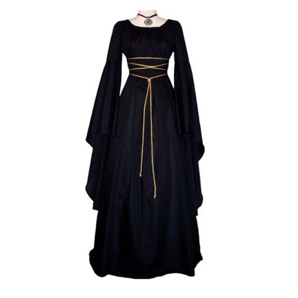Medieval Women Vintage Royal Sexy Long Sleeve Narrow Waist Long Floor Dress Maxi