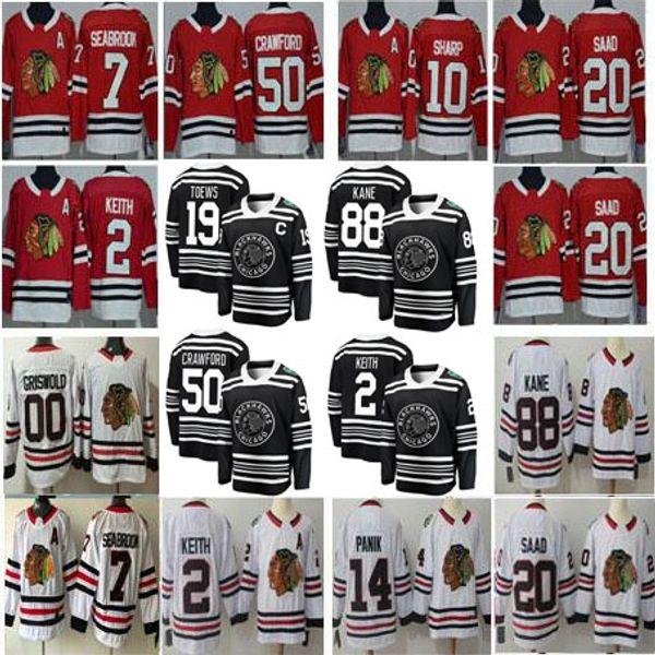Männer Frauen Kinder Winter Klassiker Chicago Blackhawks 2 Duncan Keith 12 Alex DeBrincat 88 Patrick Kane 00 Clark Griswold Rot Weiß Trikots S-3XL