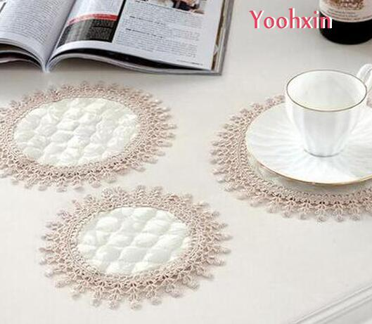 New Lace embroidery mat kitchen Christmas Placemat Table place mat cloth dining Doily mug Cup holder drink Coaster Pad tableware
