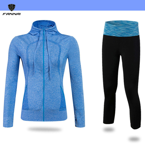 Wholesale- Gym Compression Fitness Sport Suit Compression Tights Sweatshirt Yoga Set Sportswear Leggings Running Sets WomenS Tracksuits