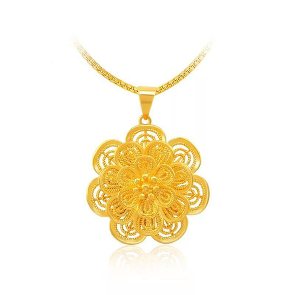 MGFam (197P) Flowers Pendants Necklace For Women Fashion Jewelry 24k Gold Plated 45cm Box Chain