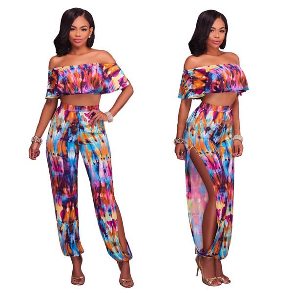 fc2963fd844 New Summer Jumpsuits Elegant Ladies Sexy Printed Ruffles Jumpsuit Off  Shoulder Casual Side Split Female Romper