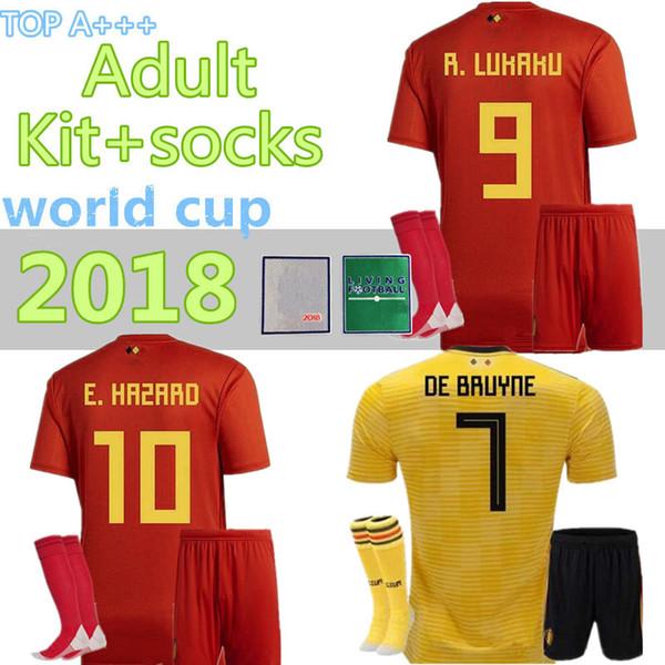 2018 Weltmeisterschaft Belgien Erwachsene Kits + Socken Fußball-Trikot Heim Auswärts LUKAKU FELLAINI E.HAZARD KOMPANY DE BRUYNE Belgien Fußball-Trikot Socken