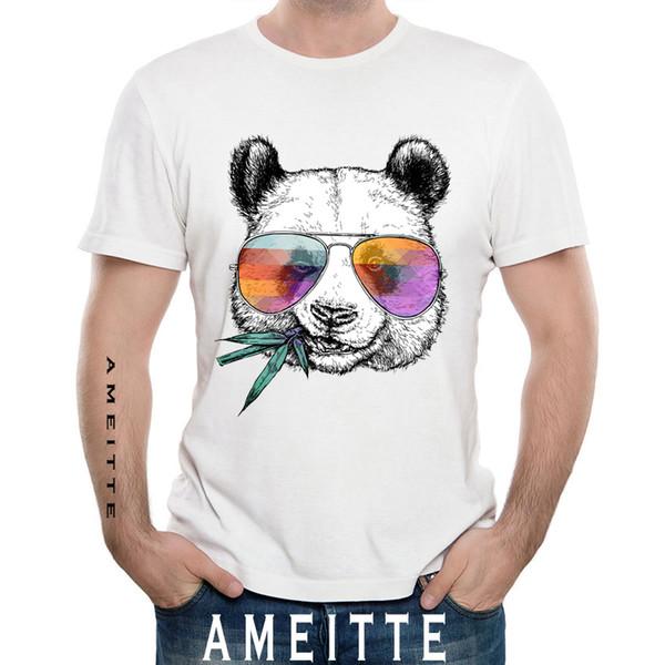 Cool Panda With Sunglasses Printed T-shirt Magliette a manica corta per uomo a maniche corte Hipster Cool Design divertente per animali