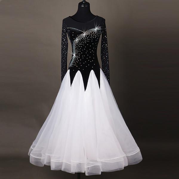Vestidos de baile modernos populares para dama Falda de encaje de color blanco negro Ropa de mujer Vals / Tango / Vestido de salón Moda DQ11023