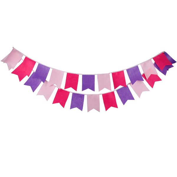 New 3.5M 12 flags Purple Pink Felt Bunting Handmade Personality Wedding Birthday Party Decoration Baby Shower Customize Garland