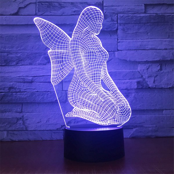 New Design DC 5V USB Powered AA Battery Powered Hot 3D Flying Angel Pattern Illusion Lamp 7 RGB Lights 3D LED Night Light