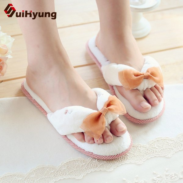 Suihyung Women Slippers Prints Floral Casual Flats New Autumn Winter Warm Cotton Shoes House Flip Flops Woamn Lace Bow Slippers