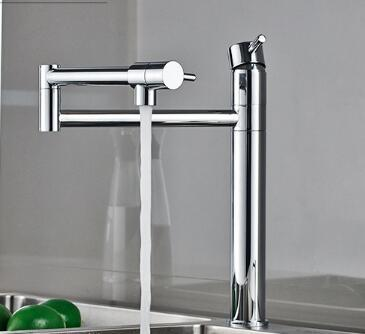 fashion high quality chrome brass foldable kitchen faucet hot and cold kitchen sink faucet 360 degree rotating water tap