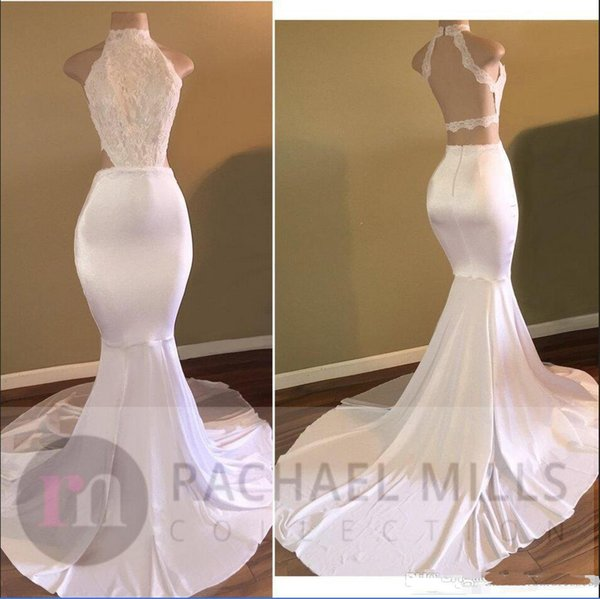 2018 New Long Mermaid Prom Dresses With Lace Sequins High Neck Sleeveless Open Back Sweep Train Evening Dress Formal Party Dresse