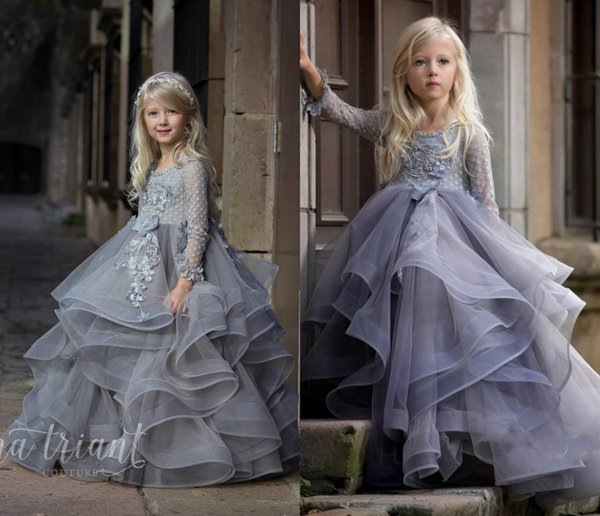 Long Sleeve Flower Girl Dress For Wedding Lace 3D Floral Applqiue Ball Gown Birthday Party Girls Pageant Dresses Pearls Kids Ball Gowns