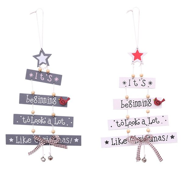 Wooden Merry Christmas Tree Decor Classical Photographic Props Festival Bowknot Bell Color Letter Pendant Supplies Hot Sale 6hb Ww