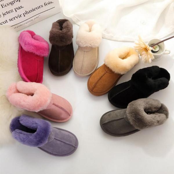Çocuk Avustralya Kış Kapalı Terlik U 100% Hakiki Deri Sıcak Çocuklar ev Ayakkabı erkek kız lüks slaytlar G tasarımcı ayakkabı Boyutu EU21-34