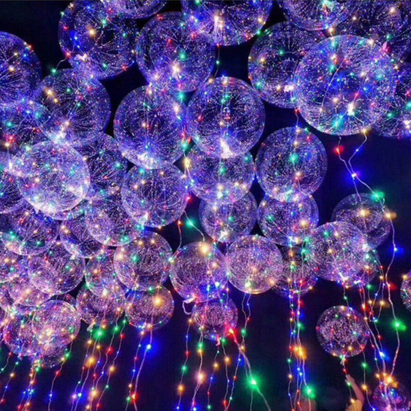 best selling LED Bobo Balloon Transparent LED Night Light Balloons Wedding Xmas Party Lights 3meter LED Party Decorations Balloon AAA226