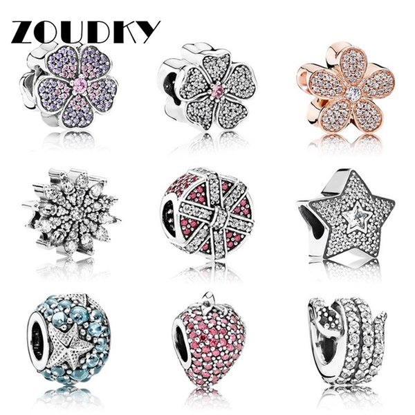 ZOUDKY 100% Genuine 925 Sterling Silver Flower type beads Clear CZ Charm bead Fit Bracelet DIY bracelet The factory wholesale
