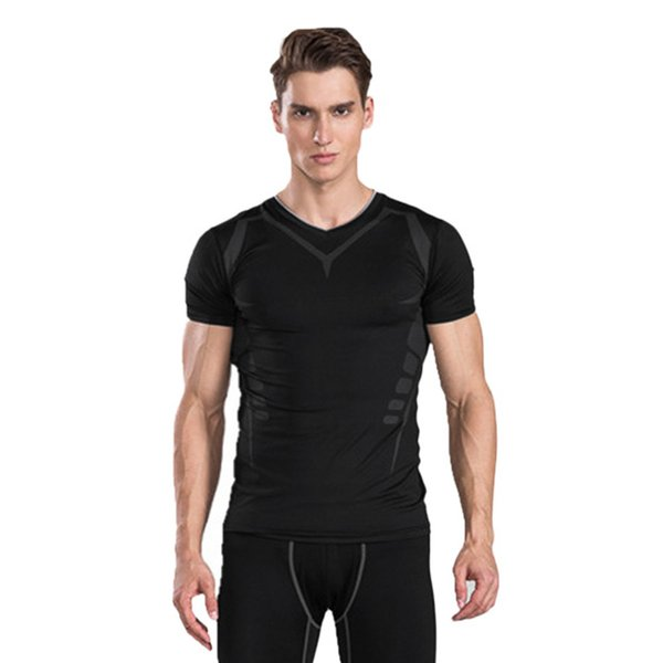 KLV Fashion Men T Shirt Fitness Muscle Stretch Short Sleeve Top Shirt men short sleeve 180126-2