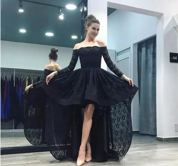 Modest Black Full Lace Prom Dresses 2018 Long Sleeves Off Shoulder High Low Arabic Evening Party Pageant Gowns Vestidos Cheap Customized