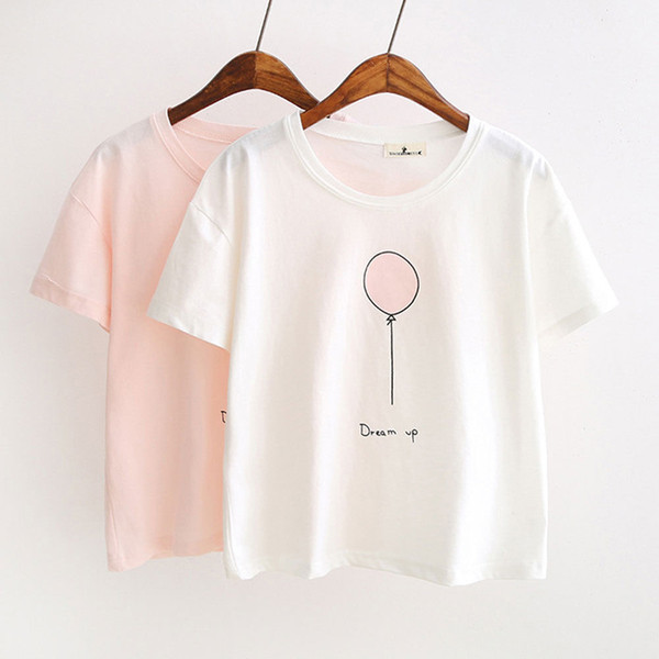 Summer Casual Women Ladies T-Shirts Cotton Short Sleeve O-Neck Letter The balloon Print Solid Slim T-Shirts 2 Style Size S-XL