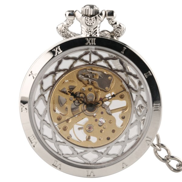Classic Men Roman Numerals Mechanical Hand Winding Pocket Watch Unique Round Dial Classic Man Vintage Chain Pendant for Fashion